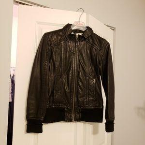 Mackage leather jacket in black by Aritzia